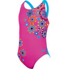 Zoggs Folk Tale Flyback Swimsuit Girls Pink/Multi